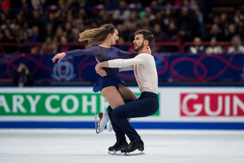 Gabriella Papadakis and Guillaume Cizeron of France set record scores as they won their third world ice dance title in Milan tonight ©Getty Images