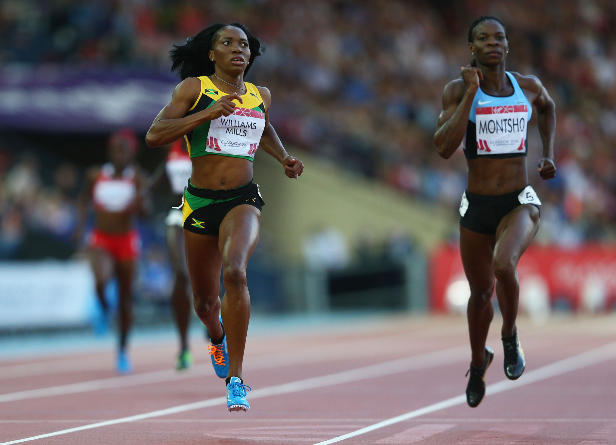 Botswana's Amantle Montsho, right, was one of two competitors to test positive for banned drugs at Glasgow 2014 ©Getty Images