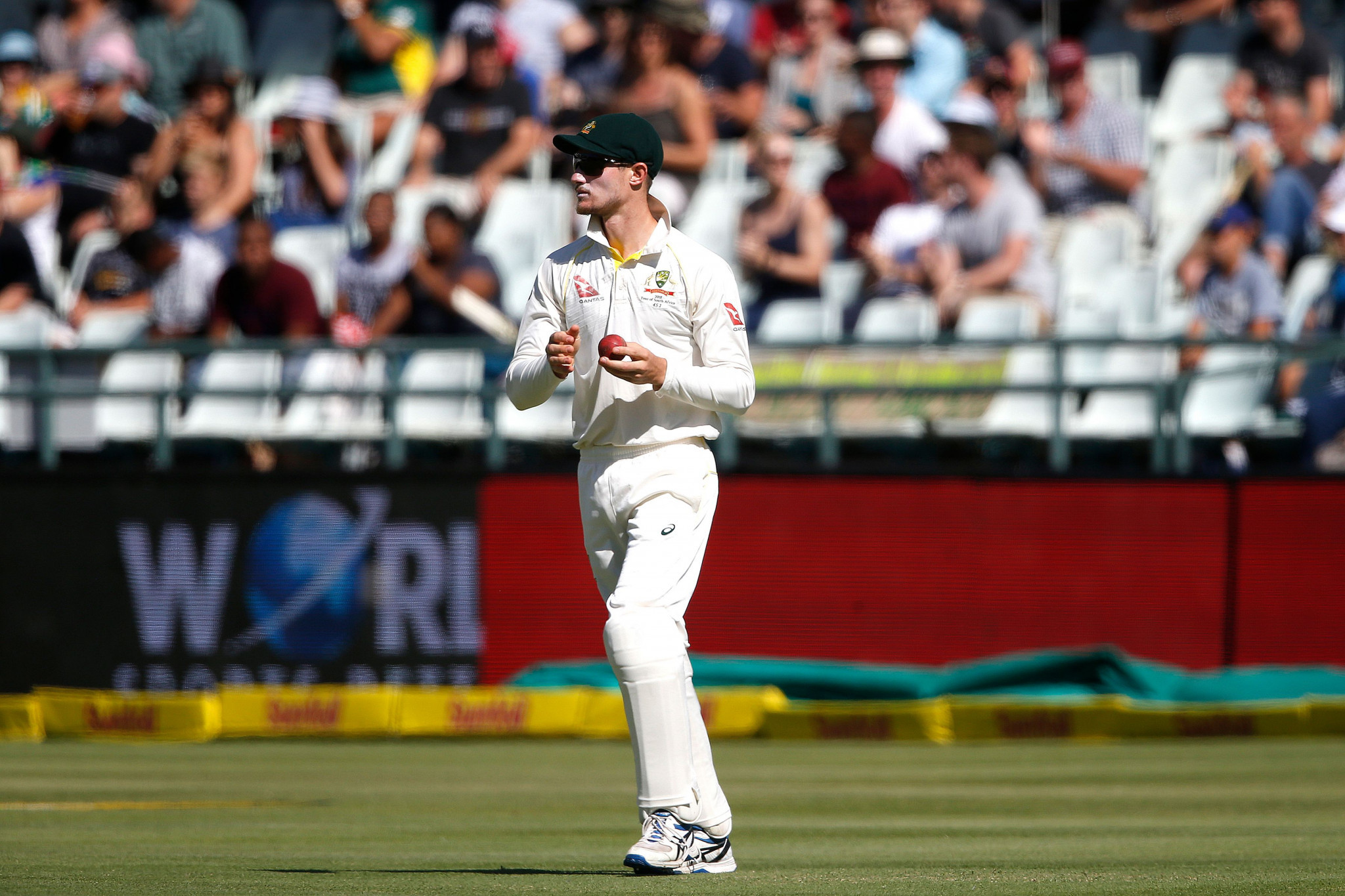 Cameron Bancroft was caught by television cameras tampering with the ball during the third Test in Cape Town ©Getty Images