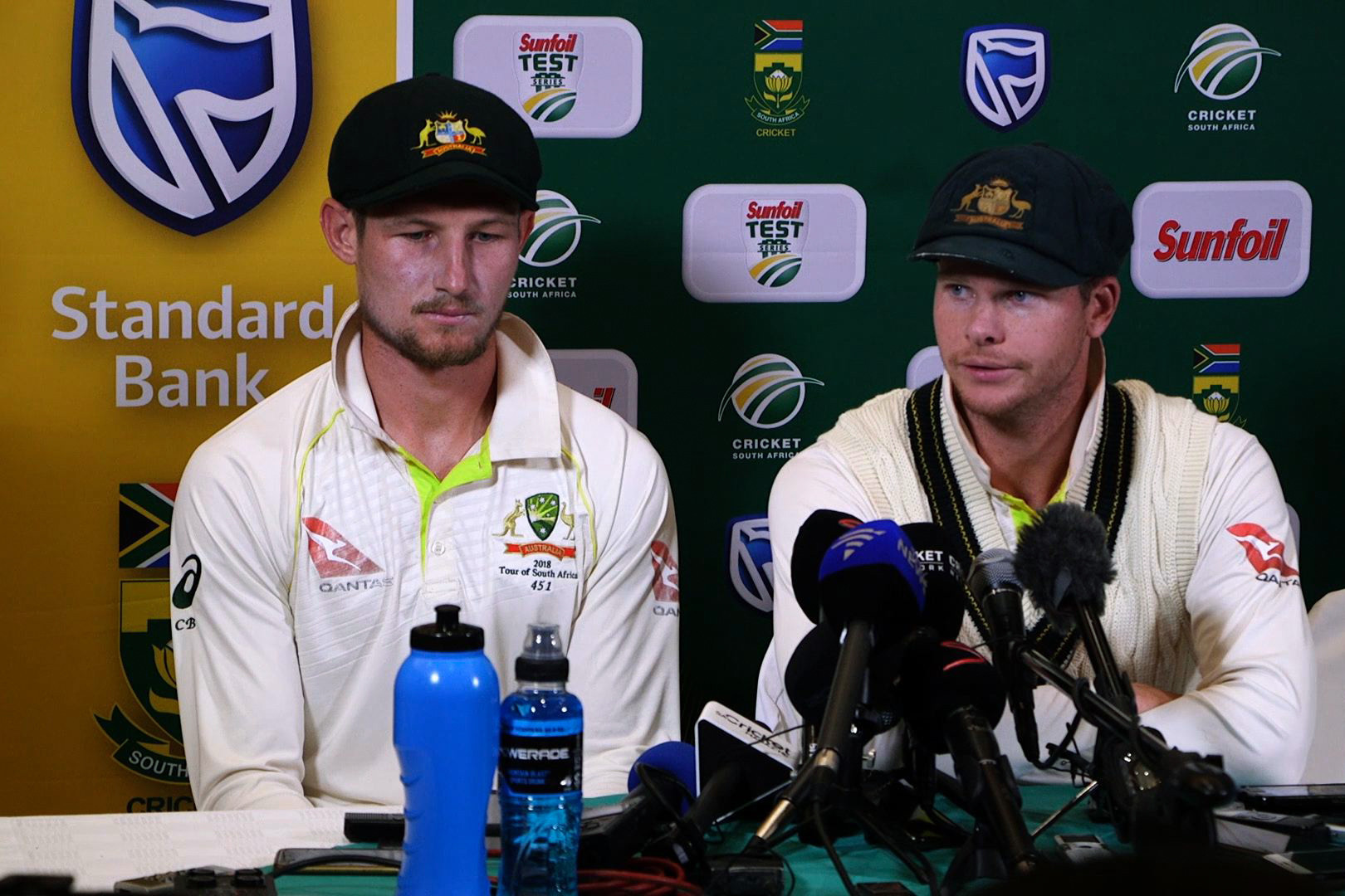 Steve Smith, left, and Cameron Bancroft admitted to ball-tampering after the match ©Getty Images