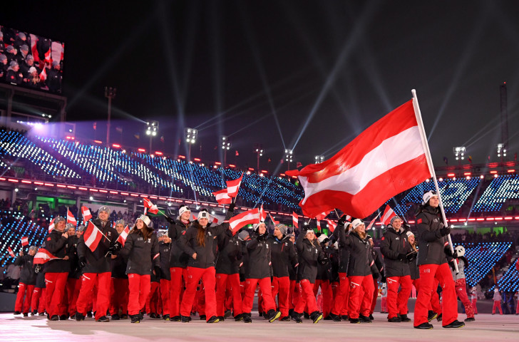 Austria's team take part in the Opening Ceremony of Pyeongchang 2018 and in eight years time could be marching on home soil if Graz and Schladming's ambitions to host the 2026 Winter Olympics are successful ©Getty Images