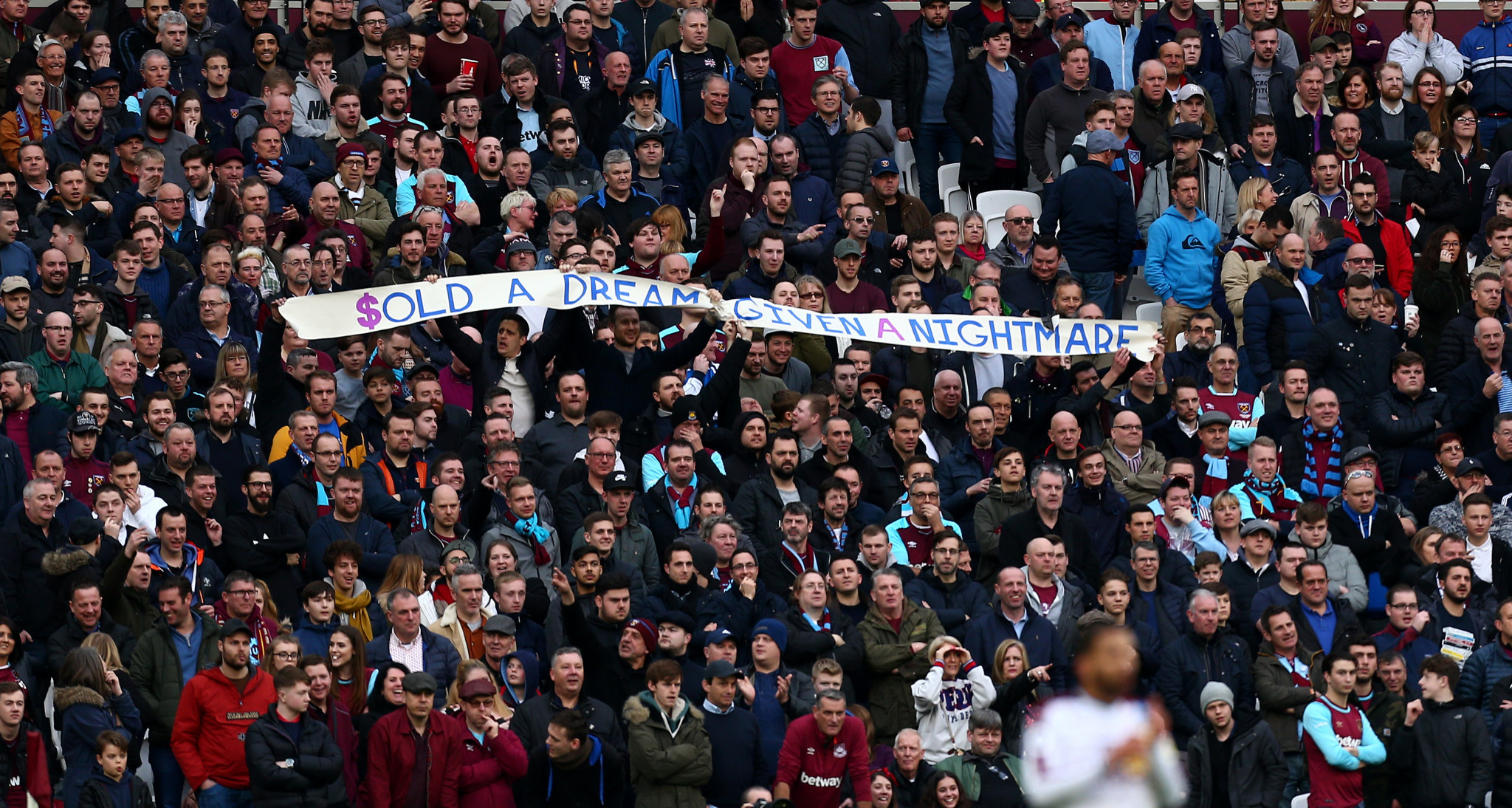 West Ham United fans protested about the Olympic Stadium during a match against Burnley earlier this month ©Getty Images