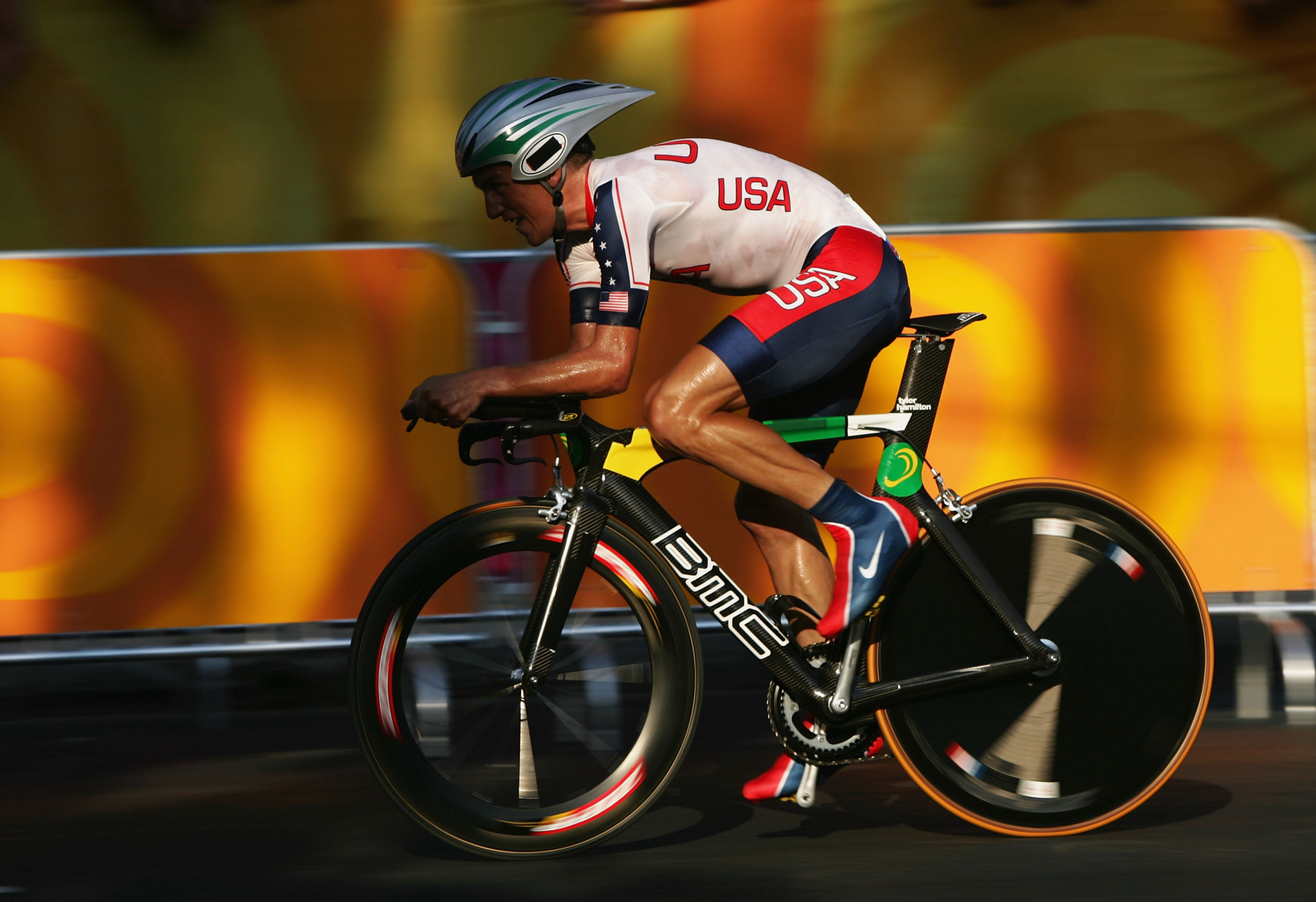 The United States' Tyler Hamilton won the Olympic time trial gold medal at Athens 2004 but was caught using new technology for identifying blood transfusions soon after ©Getty Images