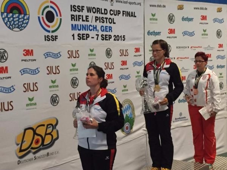 Germany shooters secured gold and silver in the women's 50 rifle three positions ©ISSF