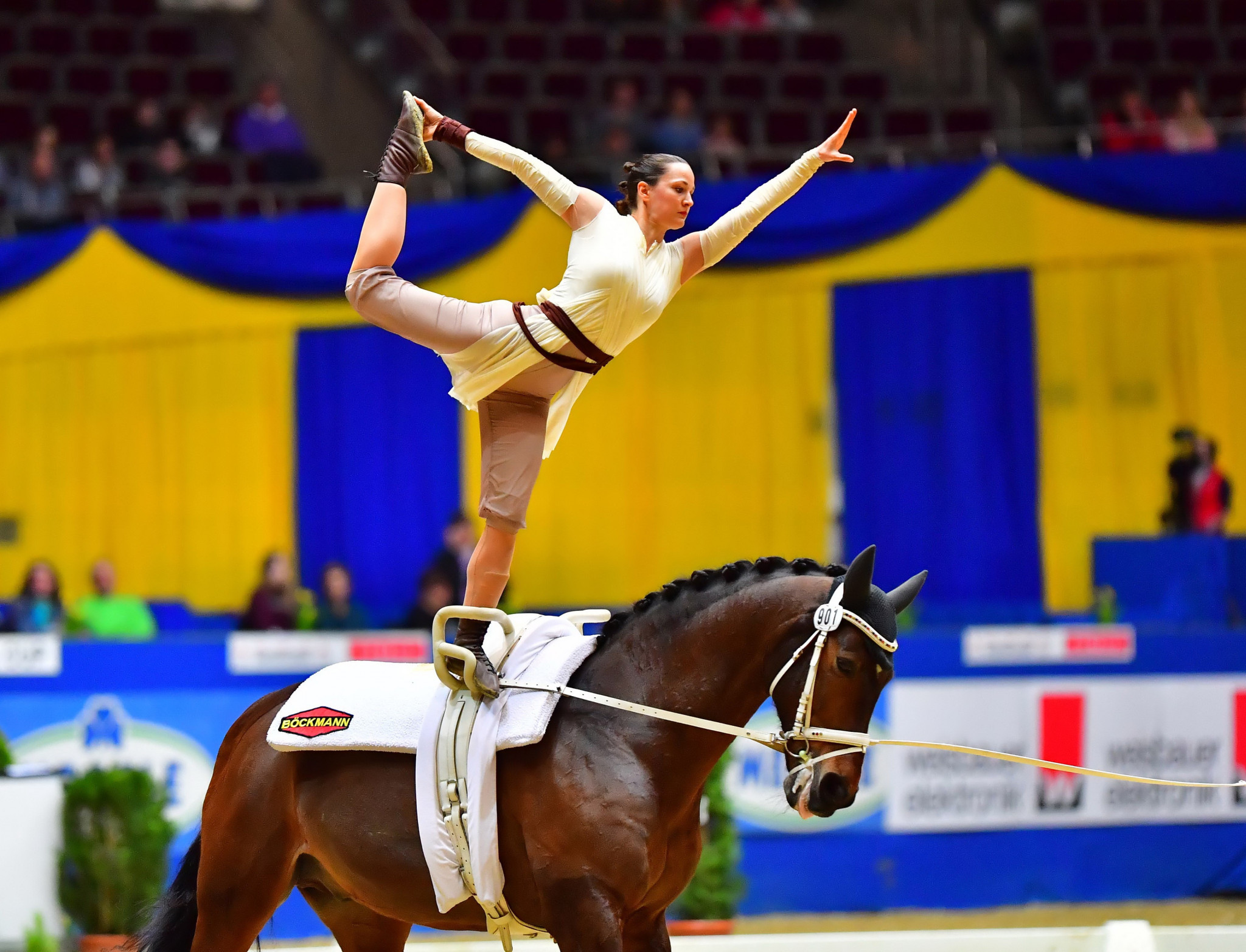 Kristina Boe secured her first FEI World Cup Vaulting title in Dortmund ©FEI/Daniel Kaiser