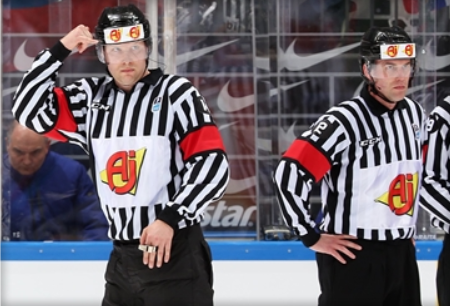 Finland's Aleksi Rantala officiated the gold medal game at the Pyeongchang 2018 Winter Olympic Games, while Czech Republic's Antonin Jerabek called the 2017 World Championships final ©Andre Ringuette/HHOF-IIHF Images
