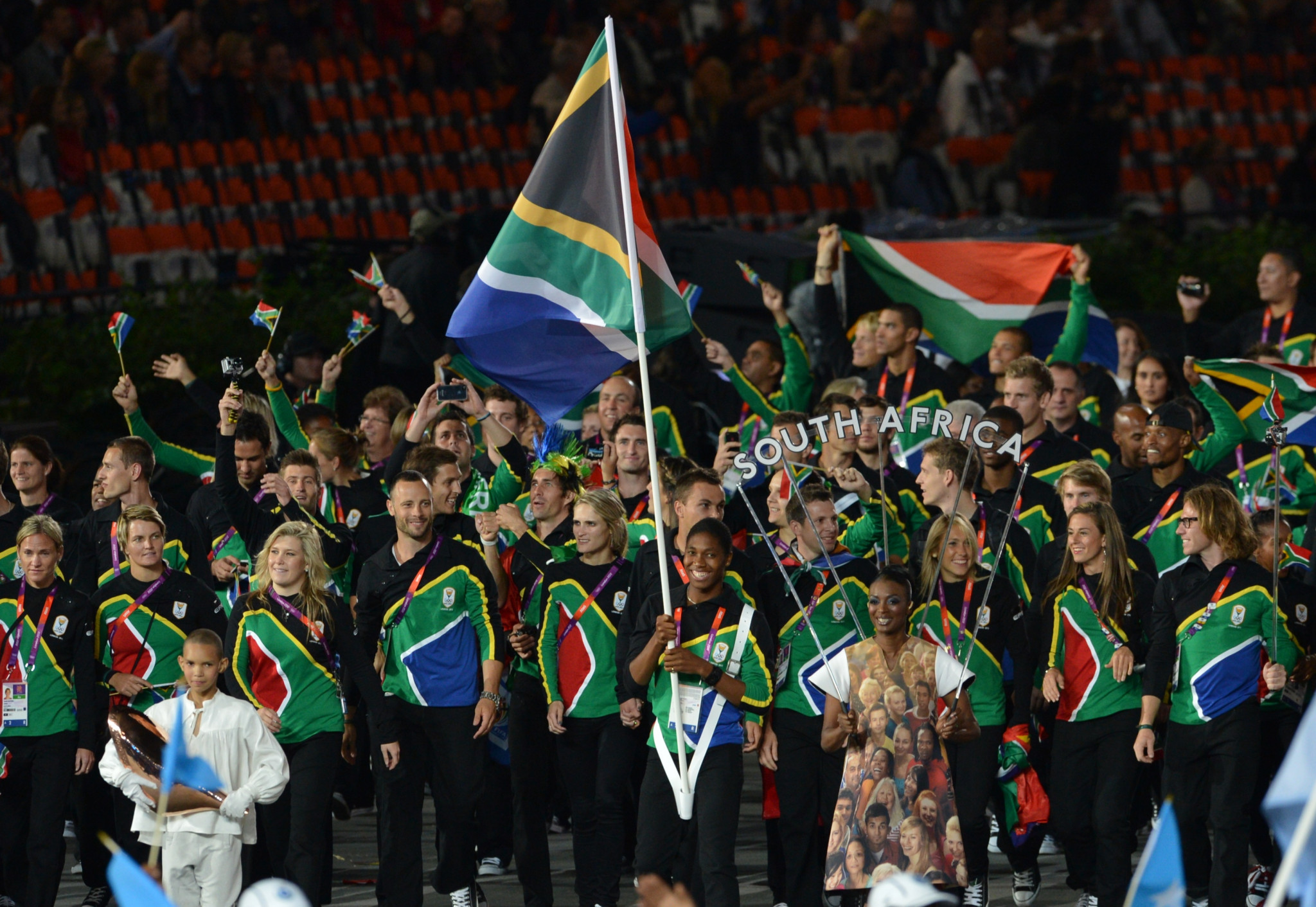 Caster Semenya carried South Africa's flag at the Opening Ceremony of the 2012 Olympic Games in London ©Getty Images