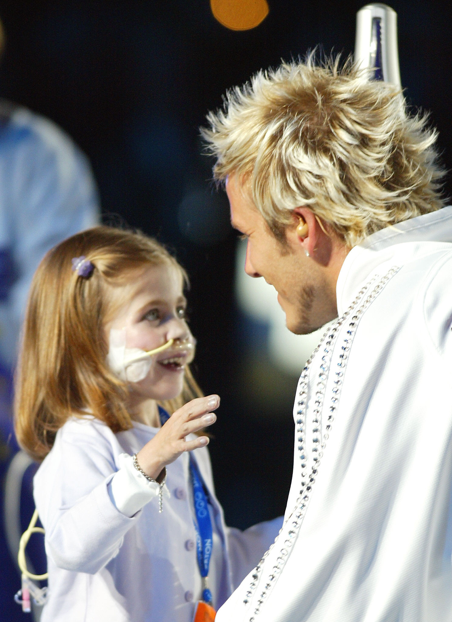 Kirsty Howard, left, captured the imagination of the world when she was joined by David Beckham for the Opening Ceremony of the 2002 Commonwealth Games in Manchester ©Getty Images