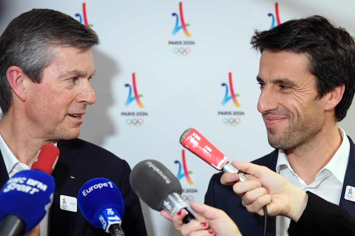 Pierre-Olivier Beckers-Vieujant, chair of the IOC Coordination Commission for Paris 2024, left, was full of praise for the French team led by its President Tony Estanguet, right, following the completion of the first Project Review ©Twitter