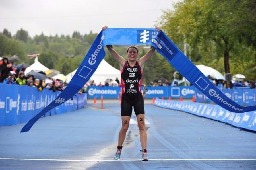 Britain's Vicky Holland made the most of Gwen Jorgensen's absence to win the women's race