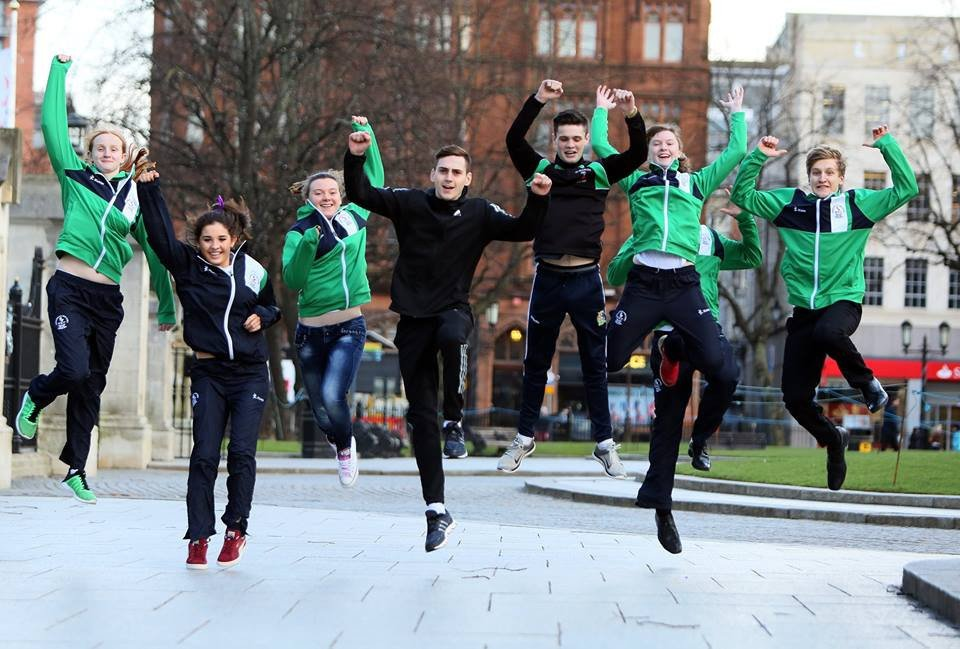 Youngsters celebrate when Belfast was awarded the Games ©Belfast 2021