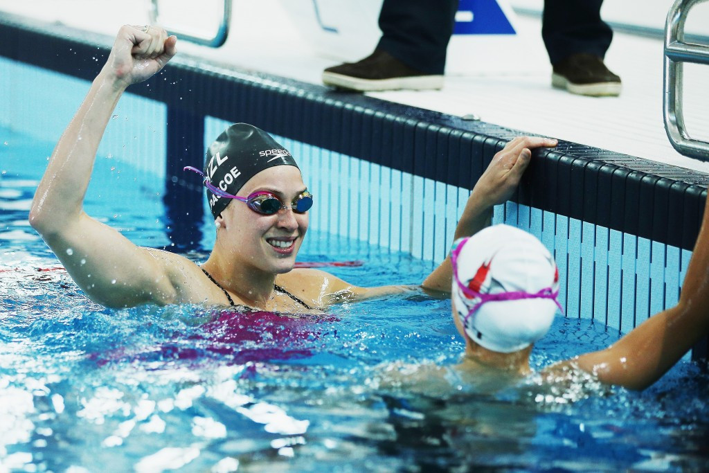 Swimmers Sophie Pascoe and Mary Fisher took part in the event held with a year to go until Rio 2016
