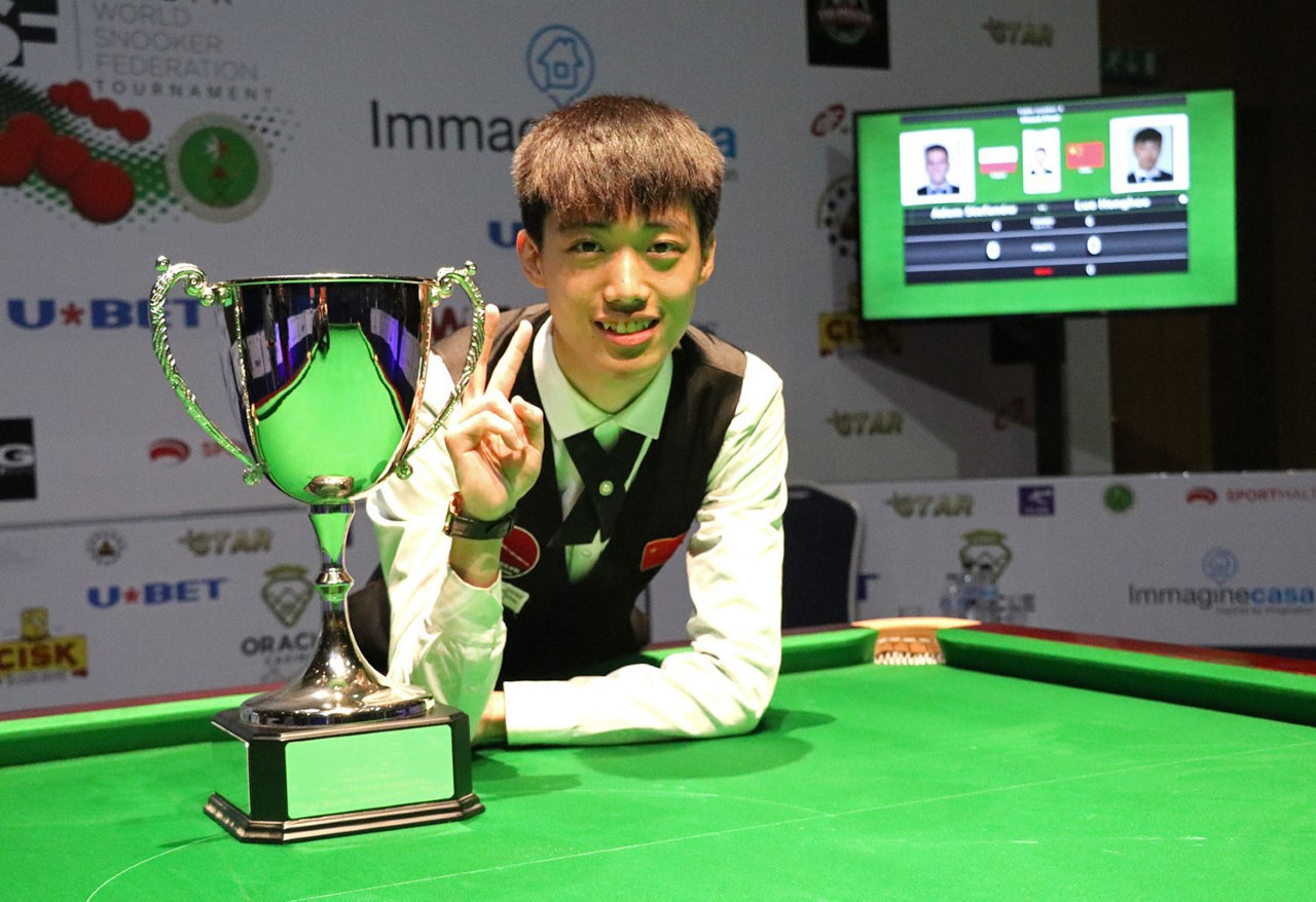 Chinese teenager Luo Honghao after winning the inaugural WSF mixed championship in Malta ©WSF
