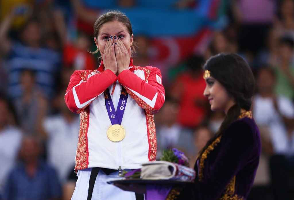 Irina Zaretska, pictured collecting gold at Baku 2015, was on dominant form again in Istanbul ©Getty Images