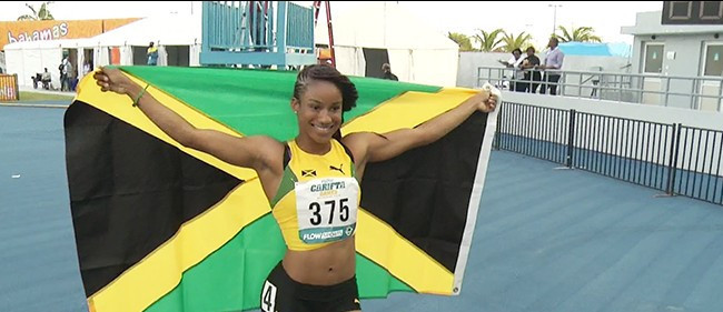 Briana Williams won the women's under-17 100m event ©Twitter/Team Jamaica