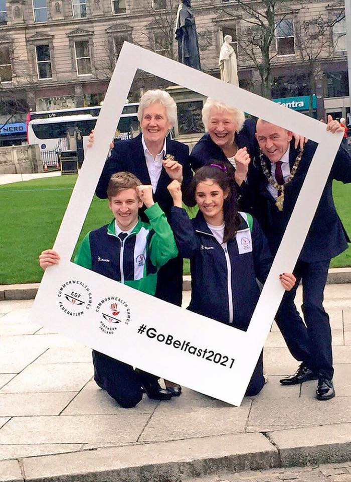 CGF President Louise Martin, second left, insisted the money is there for Belfast to stage the 2021 Commonwealth Youth Games in Belfast ©Belfast City Council