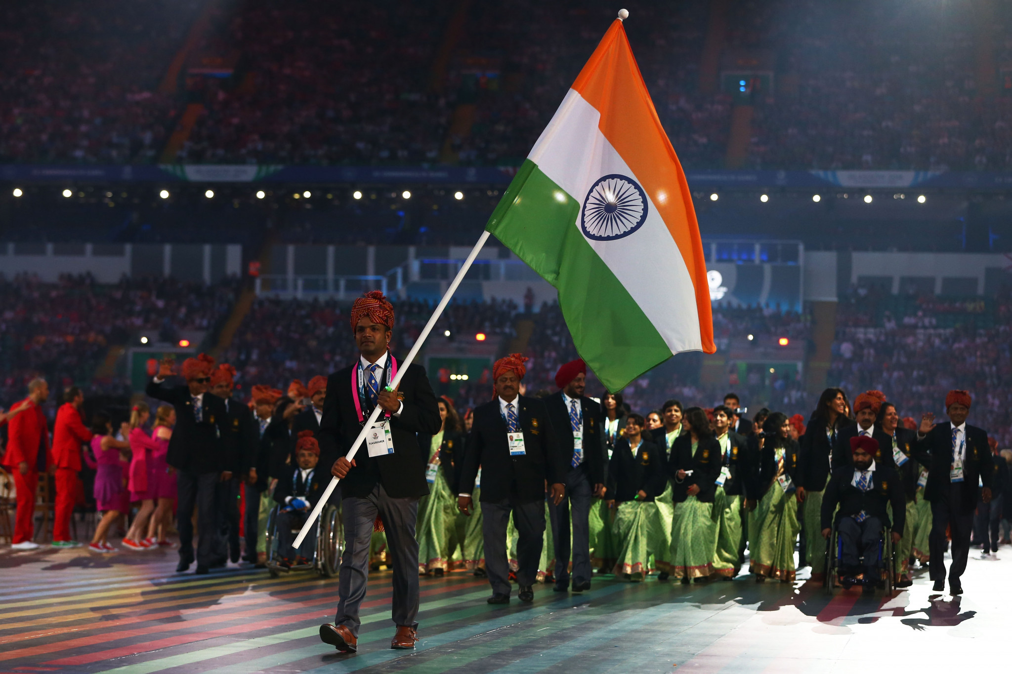 Indian athletes marching at the Opening Ceremony of Glasgow 2014 ©Getty Images