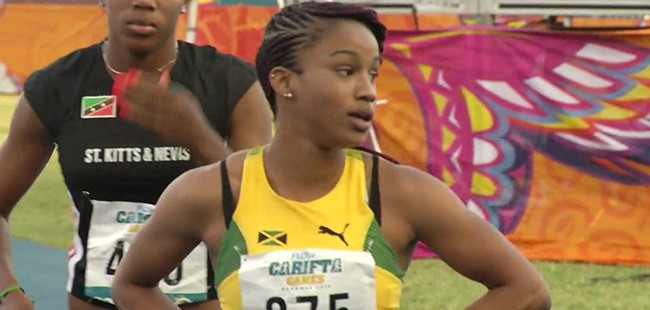Briana Williams triumphed in the women's under-17 200m event ©Twitter/Jamaica Olympics