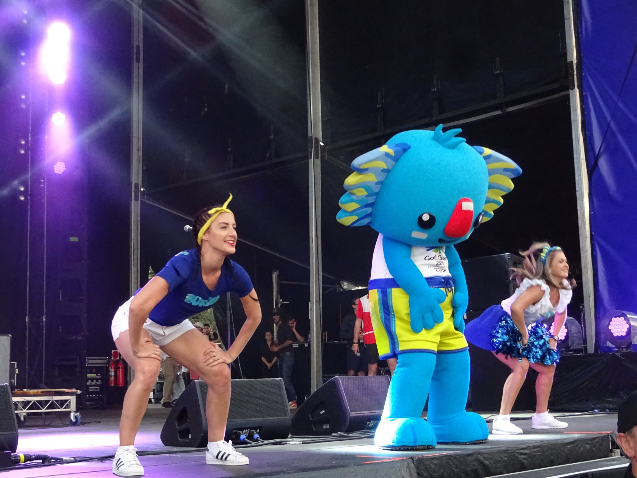 Gold Coast 2018 mascot Borobi dances at the Baton Relay ©ITG