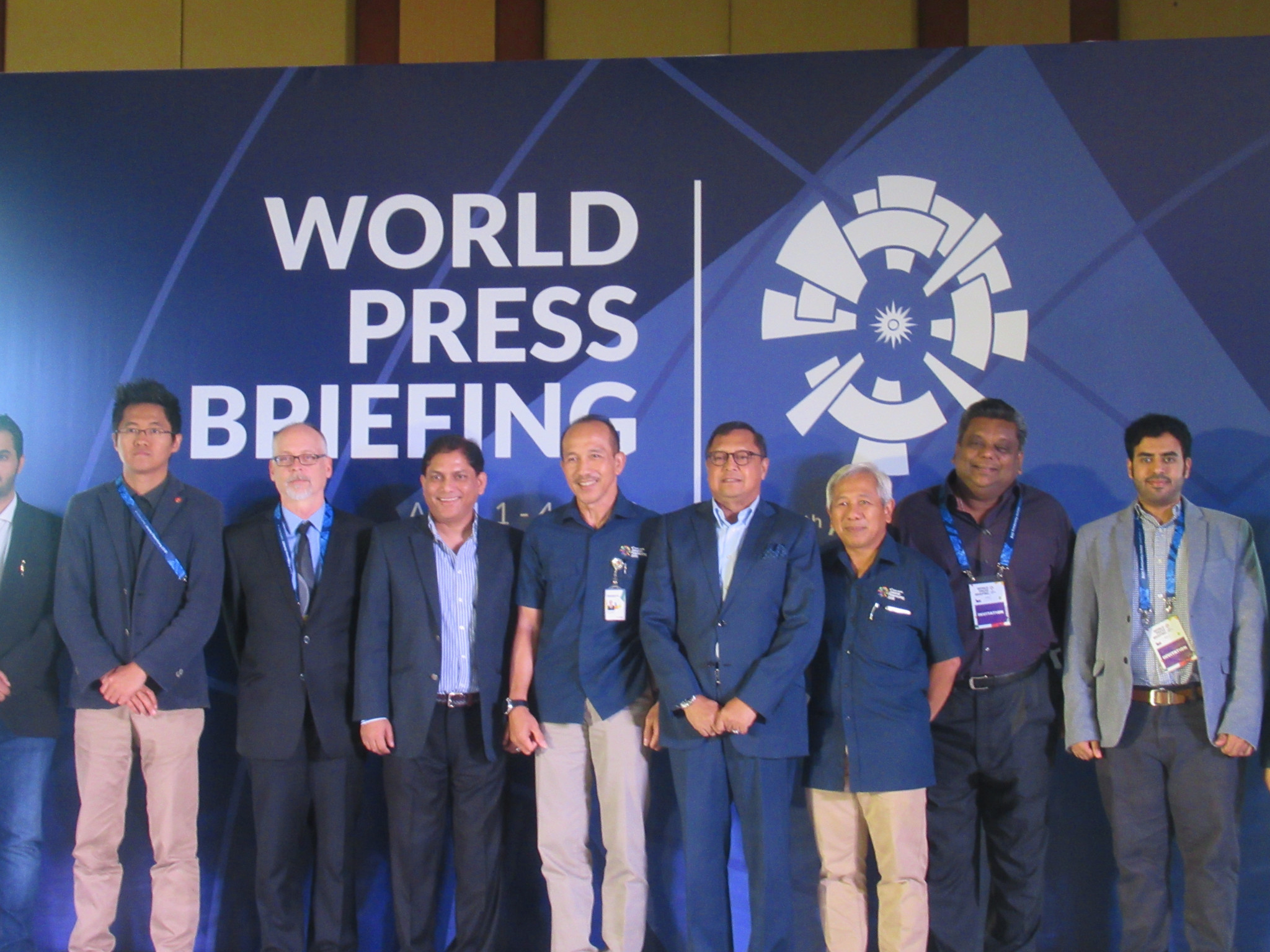 Eris Herryanto, fifth from left, welcomed 170 media members to the World Press Briefing at the Hotel Borobudur in Jakarta ©OCA