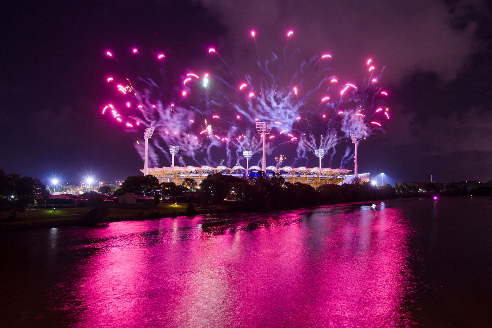 Fireworks explode in the air as Gold Coast 2018 was declared open ©Getty Images