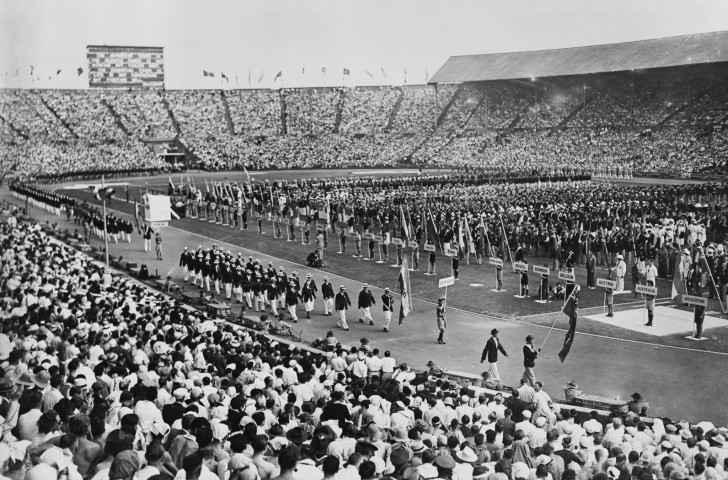 The Union flag behind which the British team marched at the Opening Ceremony of the 1948 Olympic Games had been provided at the last minute by Roger Bannister, who had had to smash a car window with a brick to retrieve it ©Getty Images