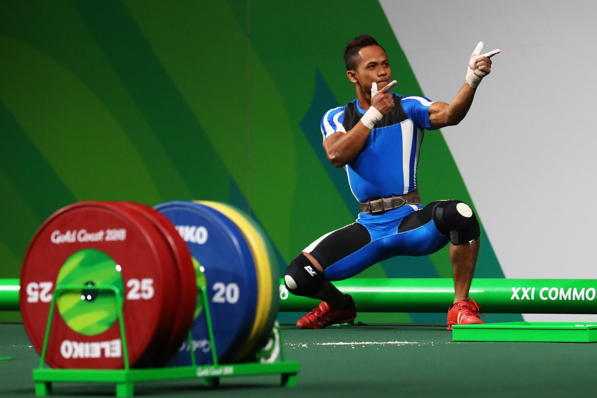 Malaysia's Muhammad Azroy Hazalwa Izhar Ahmad broke the Commonwealth Games record to win the men's 56kg event ©Getty Images