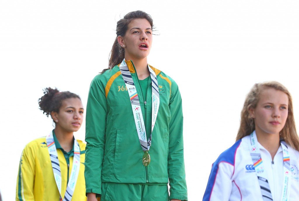 South African Renate van Tonder claimed girl's long jump gold with a wind-assisted leap of 6.26m