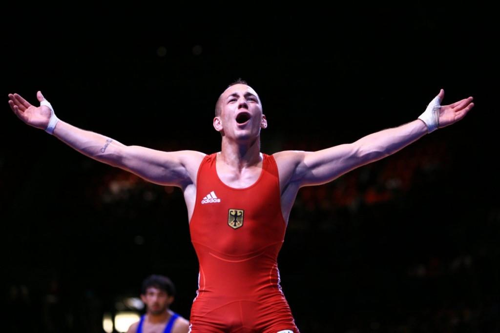 Germany's Frank Staebler won Greco-Roman 66kg gold at the Wrestling World Championships in Las Vegas ©Martin Gabor/UWW