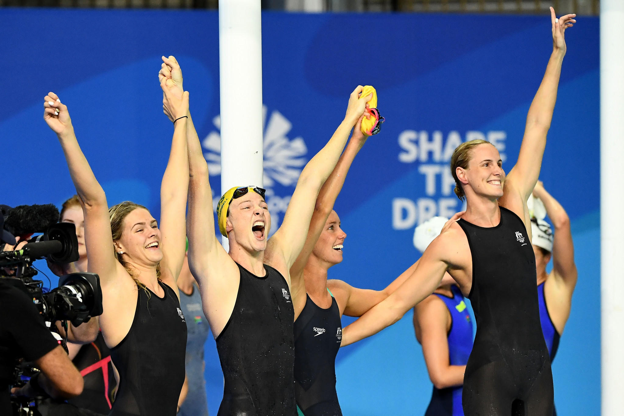Australia produced a blistering performance to win the women's 4x100m freestyle title ©Getty Images