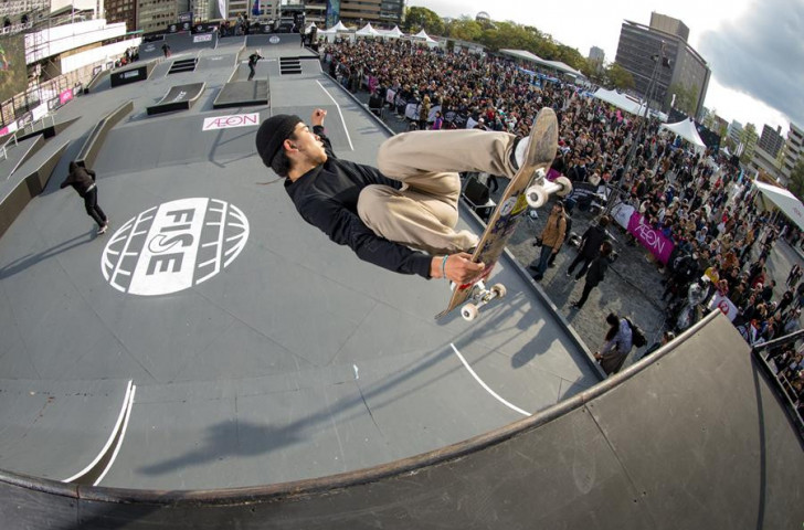 Local rider Ikeda Daisuke won the men's skateboard street pro final at the FISE World Tour in Hiroshima ©FISE
