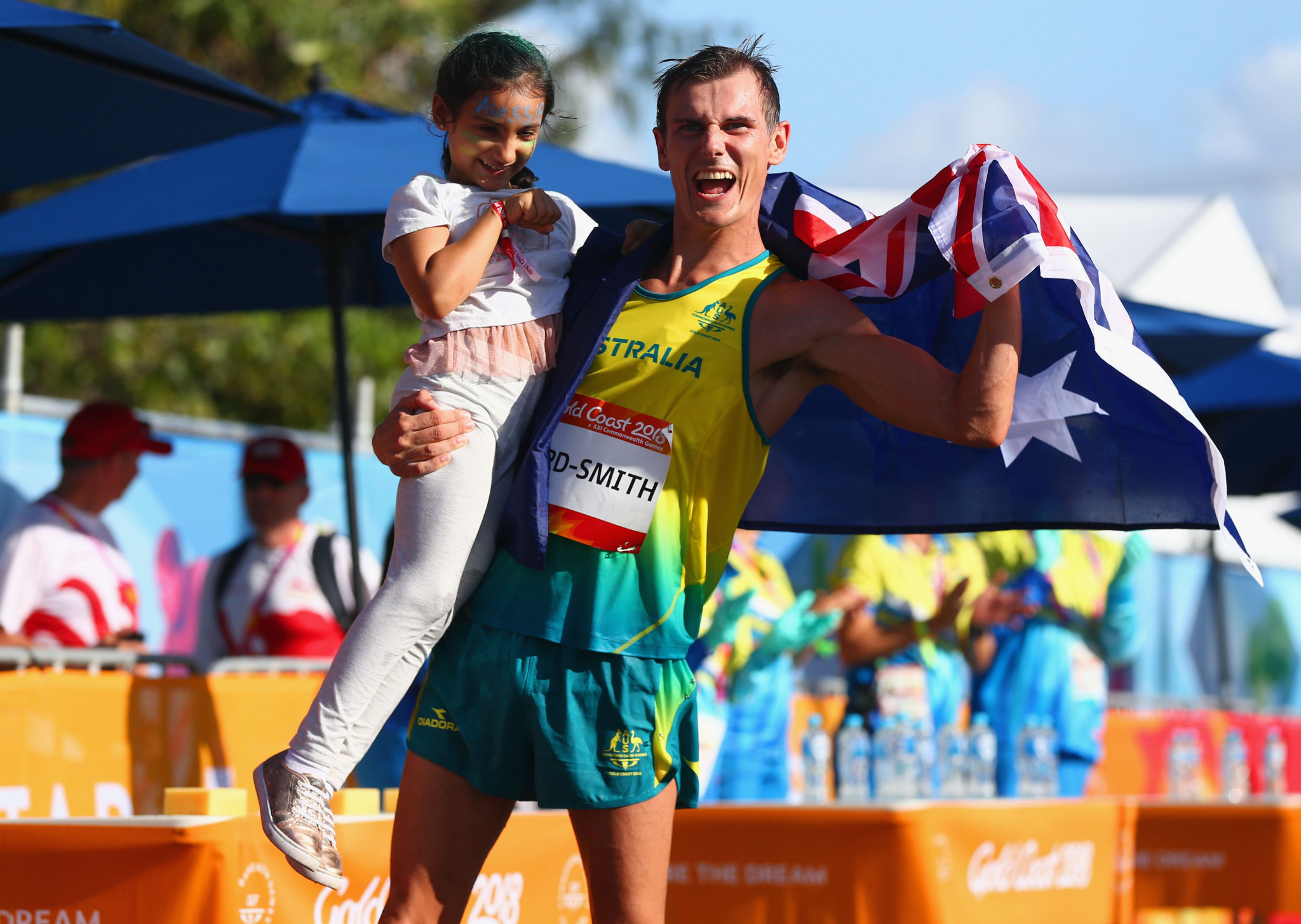 Dane Bird-Smith celebrates after his race walk gold ©Getty Images