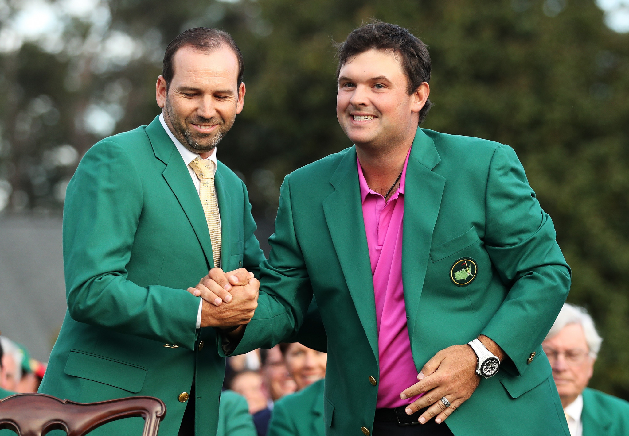 Patrick Reed received the green jacket following his triumph at Augusta ©Getty Images