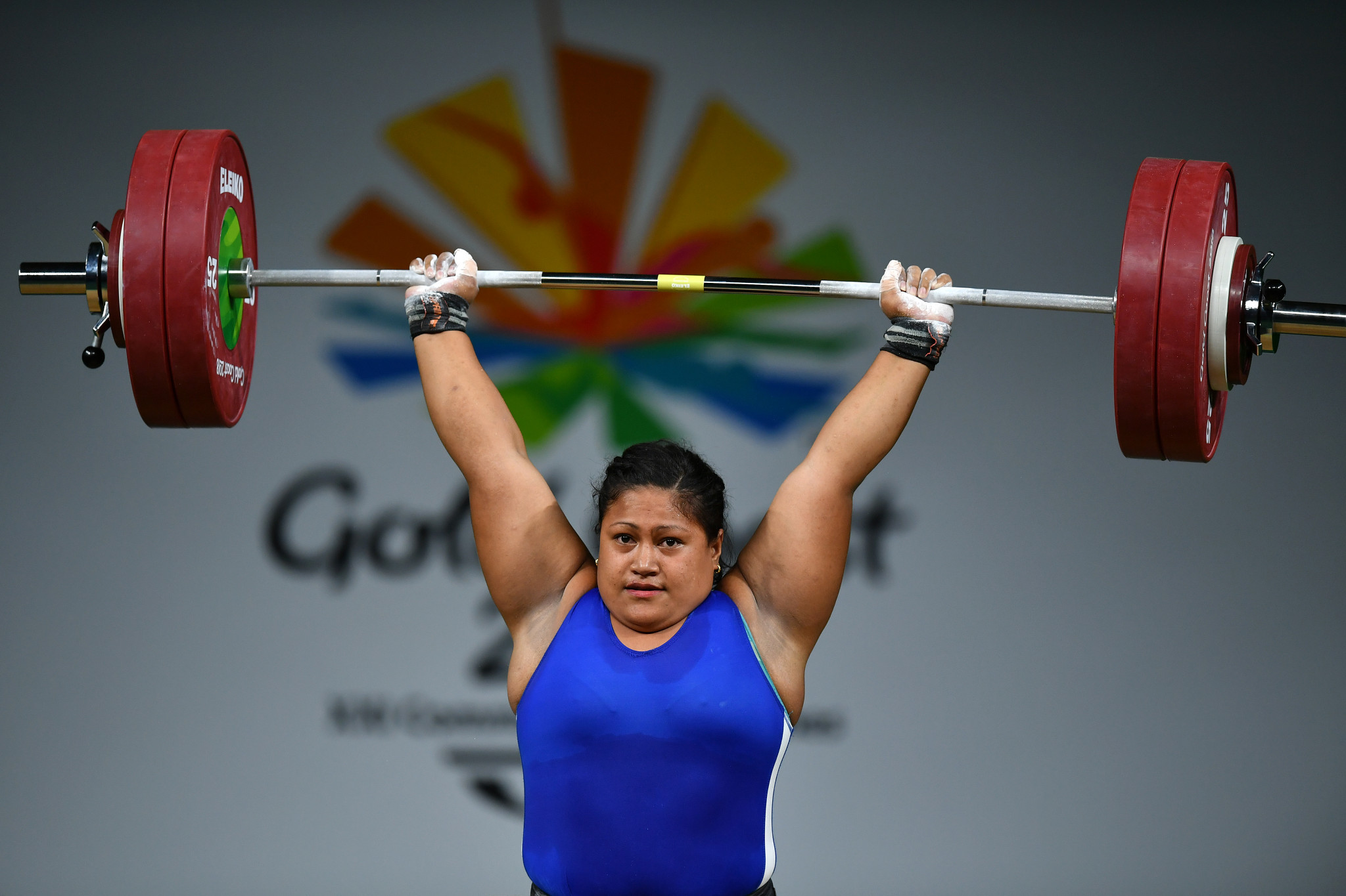 Samoa's Feagaiga Stowers won the women's over 90 kilograms weightlifting event at the Gold Coast 2018 Commonwealth Games today ©Getty Images