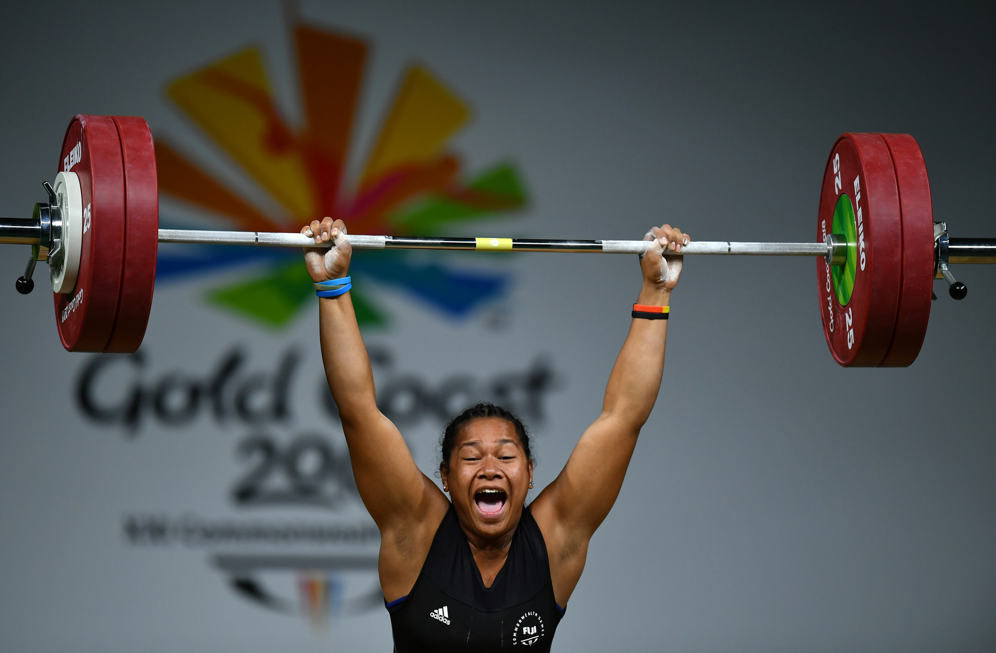 Eileen Cikamatana secured Fiji's first gold medal of Gold Coast 2018 by winning the women's 90kg competition ©Getty Images