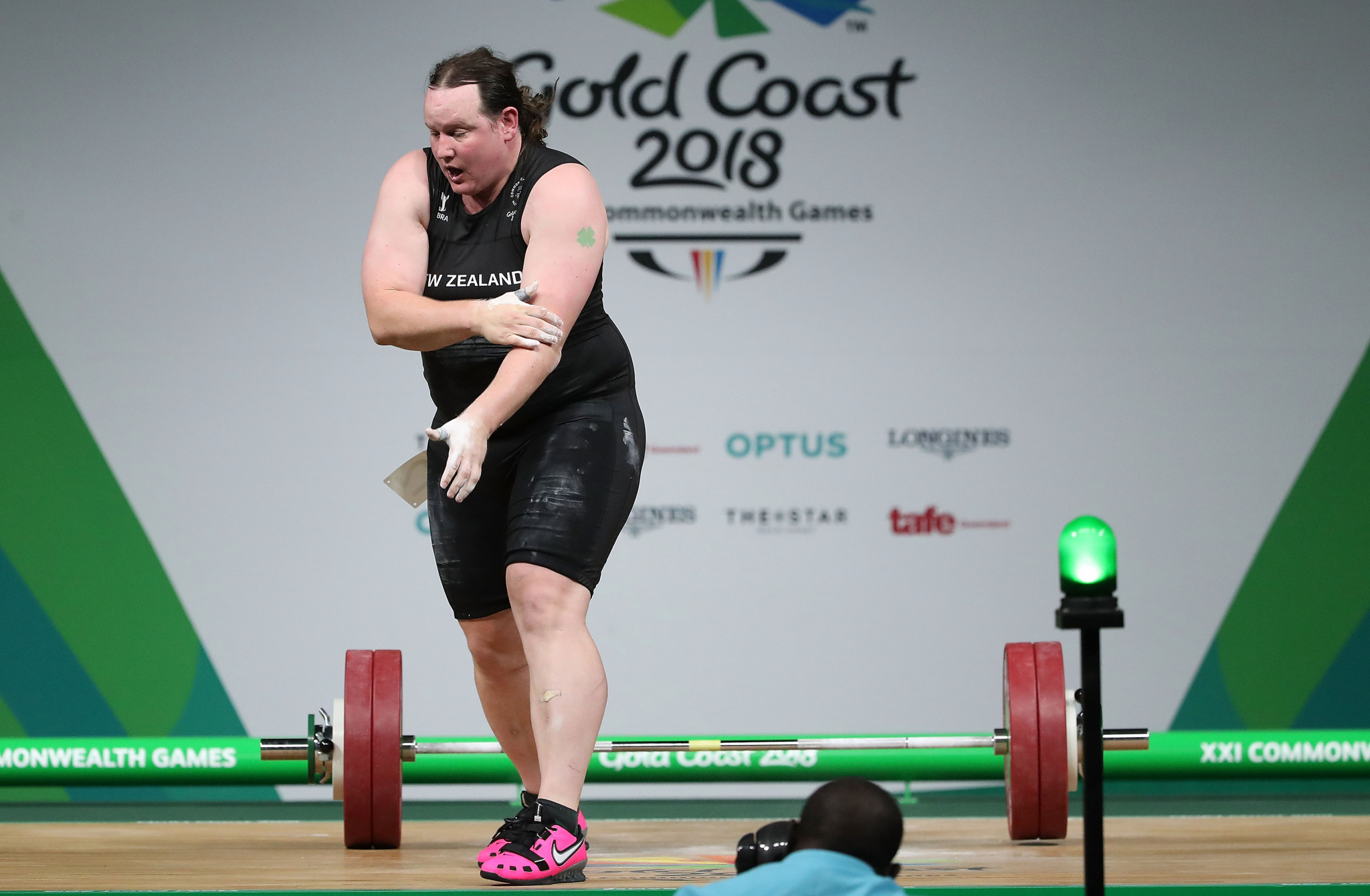 Transgender athlete Laurel Hubbard withdrew from the women's over 90kg event after injuring her left elbow ©Getty Images