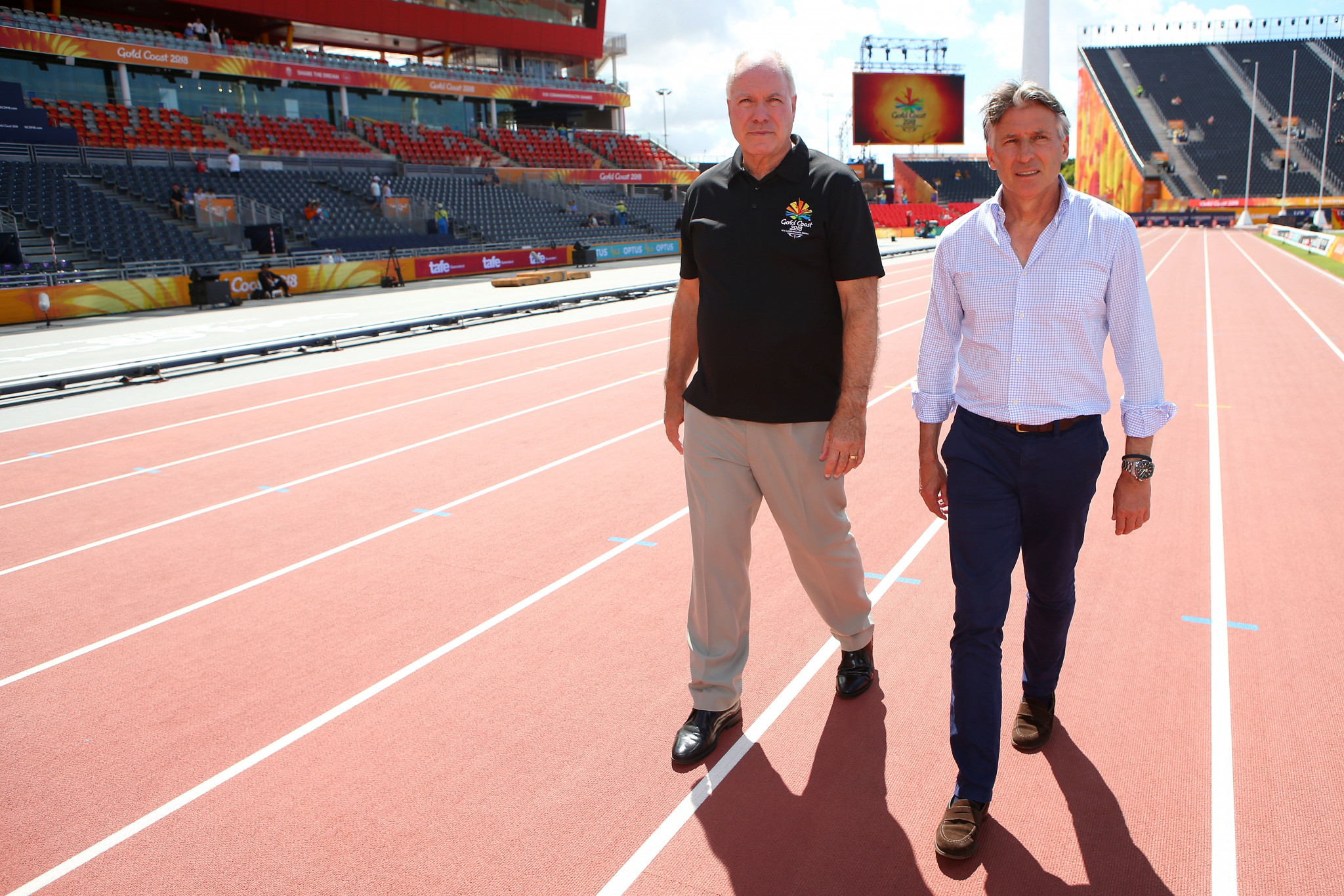 IAAF President Sebastian Coe, right, alongside Gold Coast 2018 chief executive Mark Peters, raised the idea of the mile being added to the programme for the 2022 Commonwealth Games in Birmingham during a visit here ©Getty Images