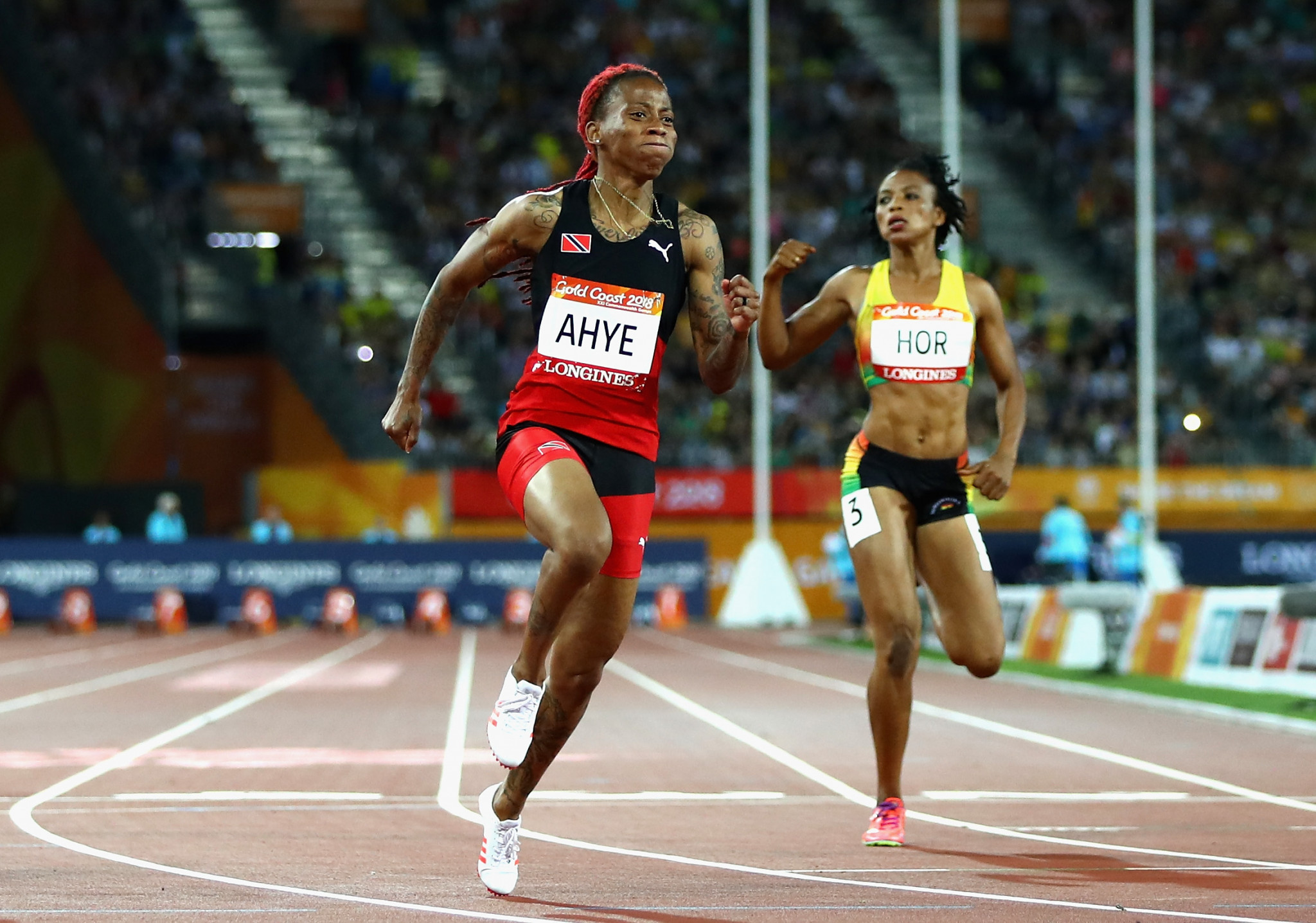 Trinidad and Tobago's Michelle-Lee Ahye won the women's 100m to become her country's first-ever female Commonwealth Games gold medallist and their first since Ato Boldo won the men's event at Kuala Lumpur 1998 ©Getty Images