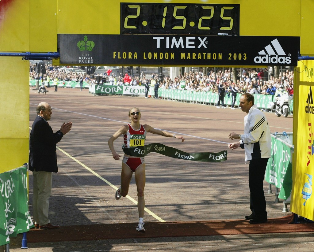 Paula Radcliffe crossing the line following her record-breaking London Marathon run in 2003 ©Getty Images