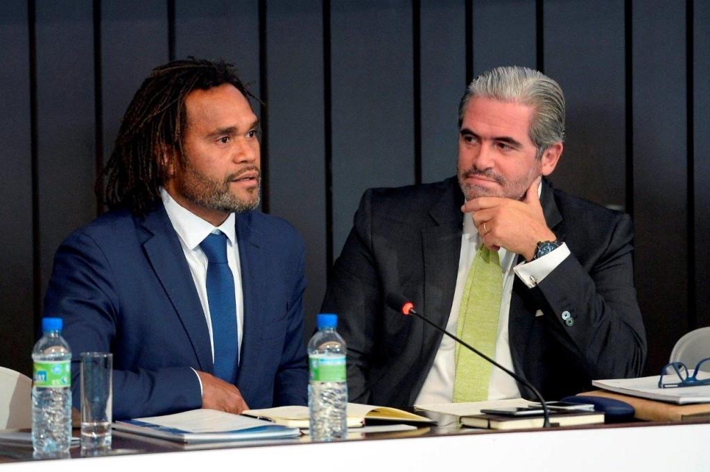 Former Real Madrid footballer Christian Karembeu and Emanuel Macedo de Medeiros at the ICSS Conference in Brussels