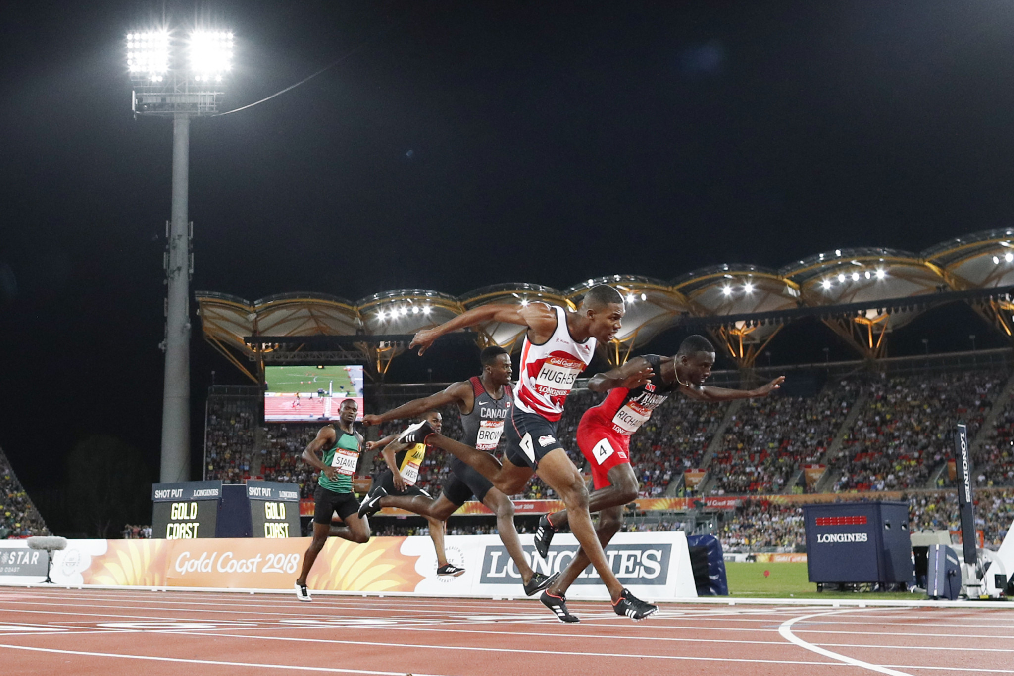 Richards wins men's 200m title at Gold Coast 2018 after Hughes' disqualification as Miller-Uibo claims women's crown