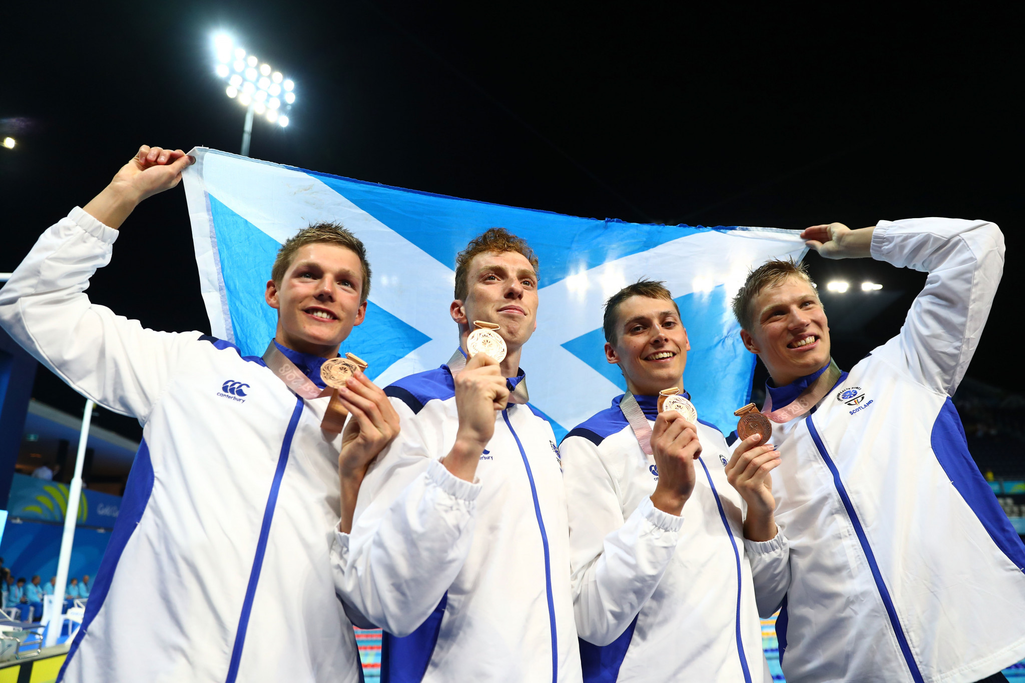 Dan Wallace, second left, won two bronze medals at Gold Coast 2018 ©Getty Images
