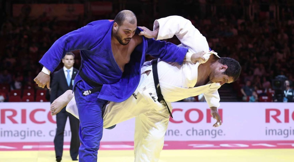 Home judoka Faicel Jaballah, left, lived up to his billing as top seed in the men's over 100kg class on day one of the African Judo Championships in Tunis ©IJF