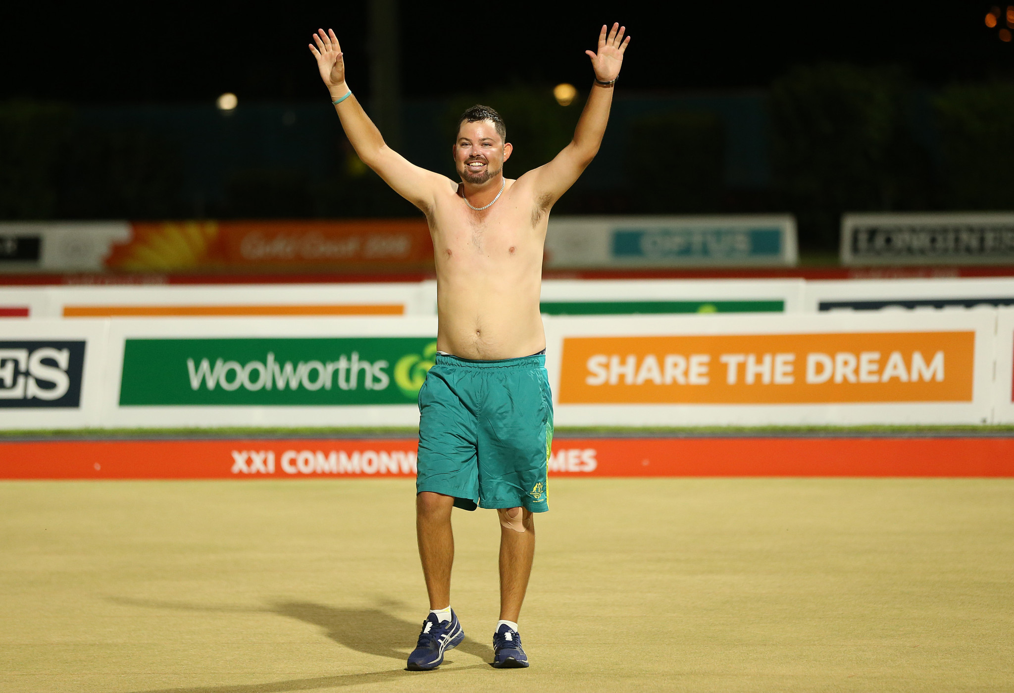 Ryan Wilson aped the celebration of Kelvin Kerkow at Melbourne 2006 when he took off his shirt following his victory in the men's singles of the bowls at Gold Coast 2018 ©Getty Images