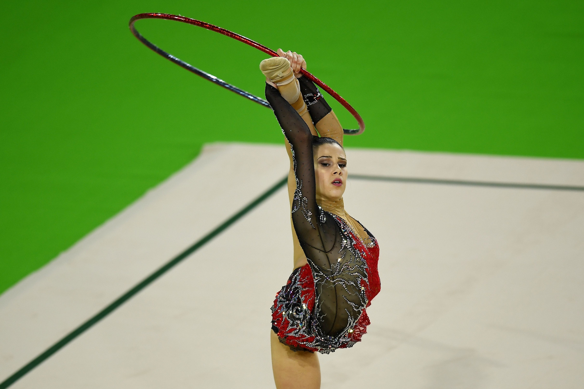 Cyprus' Diamanto Evripidou won the hoop at the rhythmic gymnastics ends Gold Coast 2018 with a total of six medals ©Getty Images
