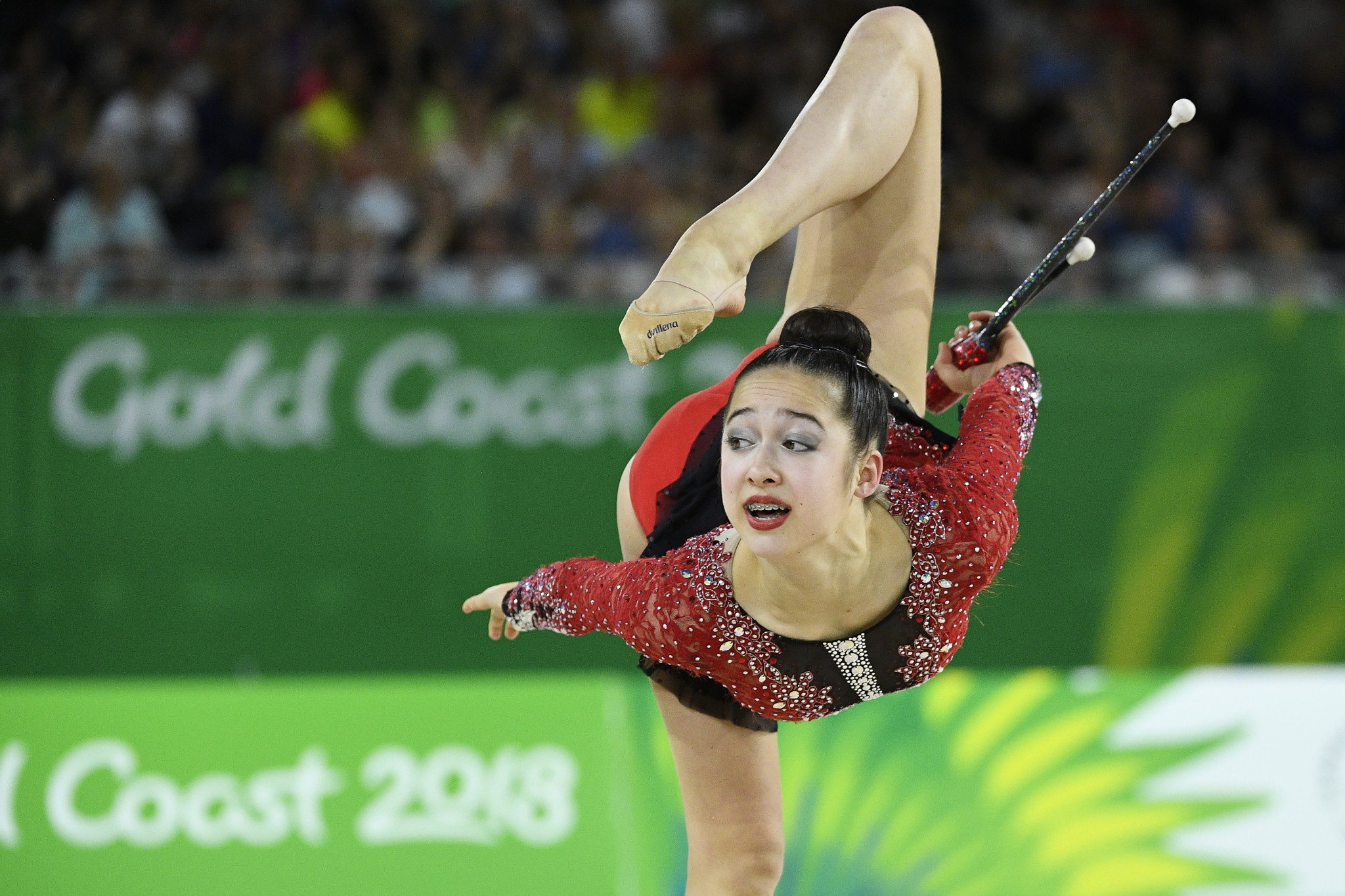 Canada's Sophie Crane overcame a mistake at the beginning of her routine to win the Commonwealth Games gold medal in the clubs at Gold Coast 2018 ©Getty Images