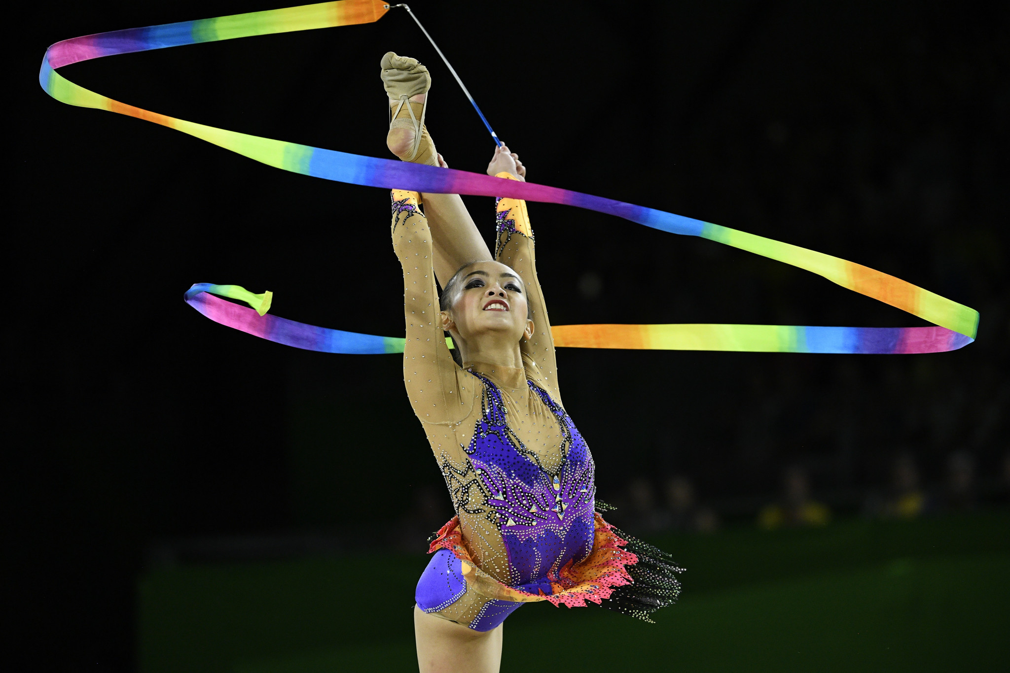 Malaysia's Kwan Dict When won the gold medal in the ribbon but claimed it was not the highlight of Gold Coast 2018 for her and the bronze medal in the all around the day before was more memorable ©Getty Images