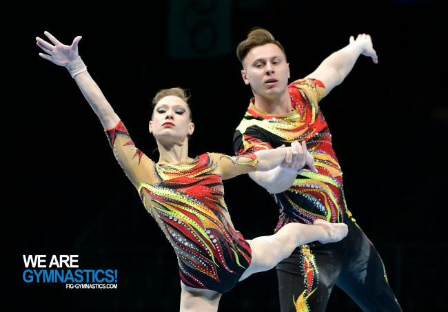Marina Chernova and Georgii Pataraia took a big step to retaining their Mixed Pairs title at the FIG Acrobatic World Championships ©Getty Images