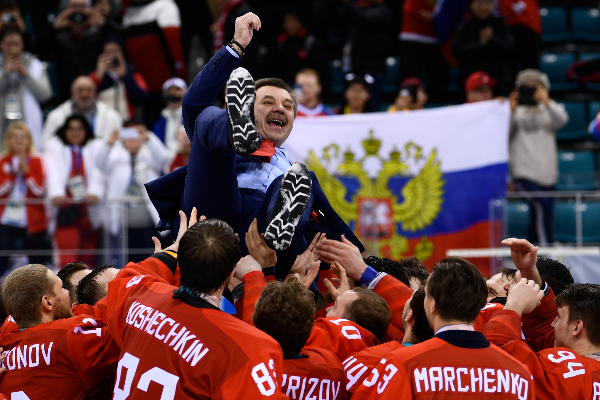 Oleg Znarok guided the Olympic Athletes from Russia to the men's ice hockey gold medal at Pyeongchang 2018 ©Getty Images