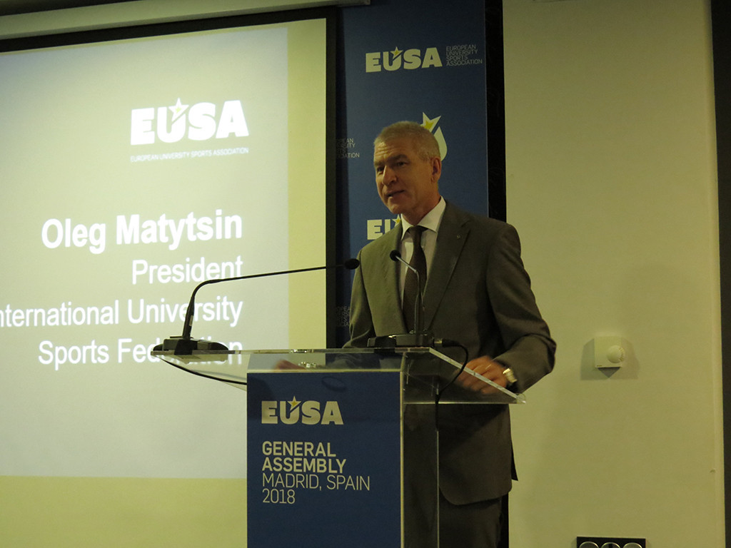 FISU President Oleg Matytsin was among the speakers at the EUSA General Assembly ©EUSA